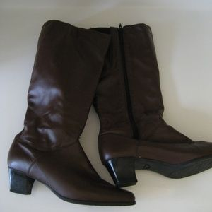 Brown wide calf boots 11 M